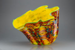 Carnival Macchia Large Glass Vase with Yellow Interior & Ruffled Edge Contemporary Art