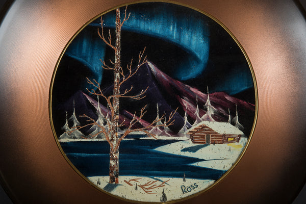 Bob Ross Authentic Original Oil Pan Painting Alaska Cabin Mountain Scene