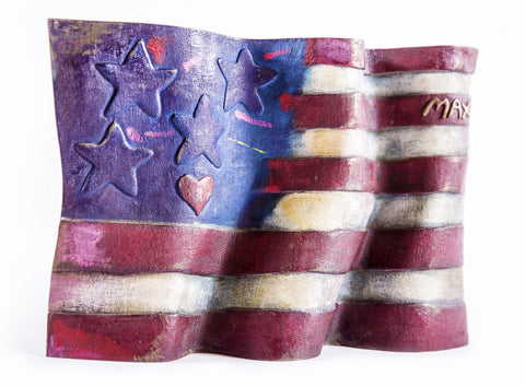 American Flag Bronze Sculpture by Peter Max #21/250 1991