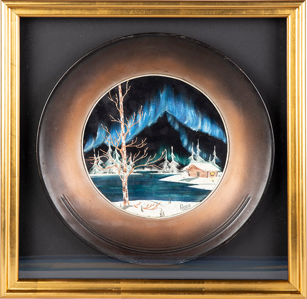 Authentic Original Oil Pan Painting Alaska Cabin Mountain Scenes