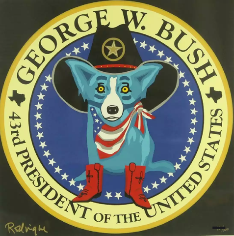 George W. Bush Presidential Seal Blue Dog Soldout Silkscreen Pop Art