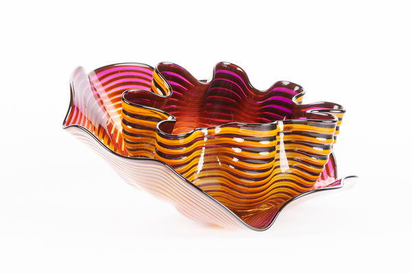 Original Amber Plum Seaform Set Handblown Glass Contemporary Art