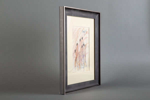 Original Signed Crayon and Ink Figurative Drawing on Paper Contemporary Art