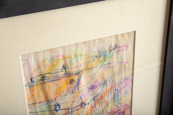 Original Signed Crayon and Ink Airplane Drawing on Paper Contemporary Art