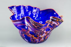 Royal Blue Macchia with Para Red Lip Original Handblown Glass Signed Contemporary Art