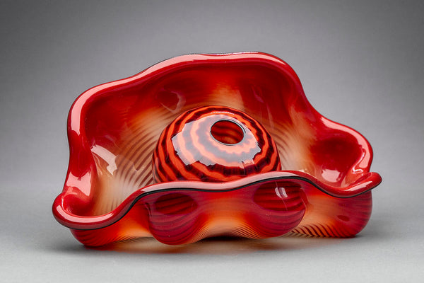 "Ultra Rare Retired Sold Out 95"" Chinese Red Seaform Pair Glass Sculpture w/case Certificate"