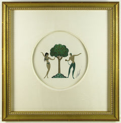 Erte Original Gouache on Paper Art Deco Adam and Eve