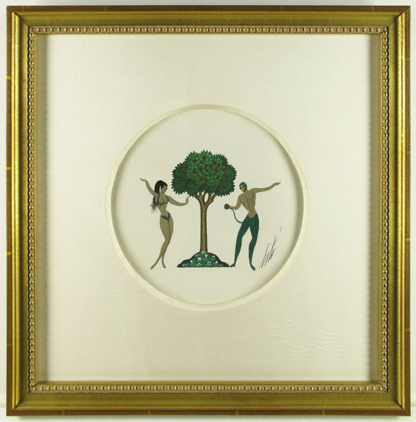 Original Gouache on Paper Art Deco Adam and Eve