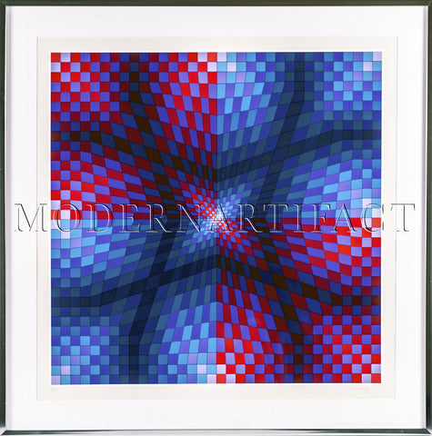 Serigraph Pauk-Arny Painting Limited Embossed Edition Op Art