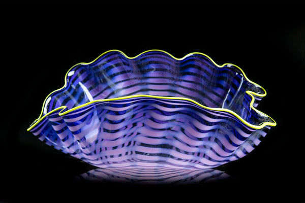 Large Violet Purple Seaform with Chartreuse Lip Wrap Contemporary Art