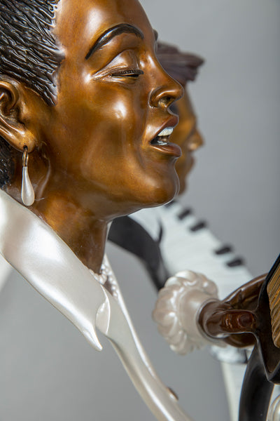 "Paul Wegner Lady Day Bronze 30"" Billie Holiday Signed Sculpture Music Blues Jazz 14k retail"