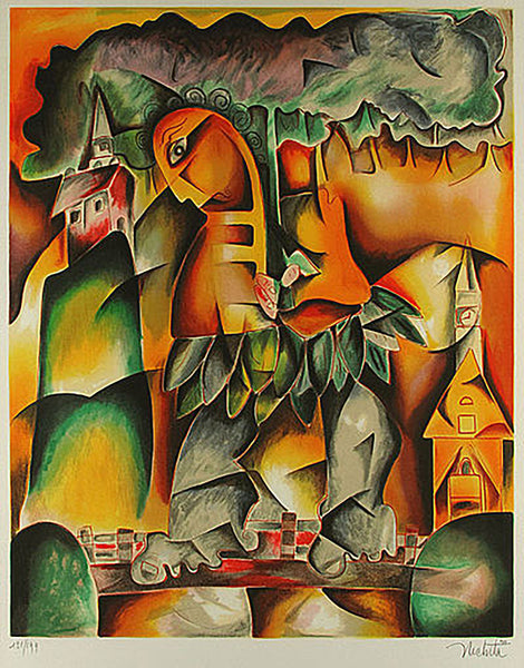 Alexandra Nechita Miss Maui Lithograph on Paper Signed Contemporary Art Cubism