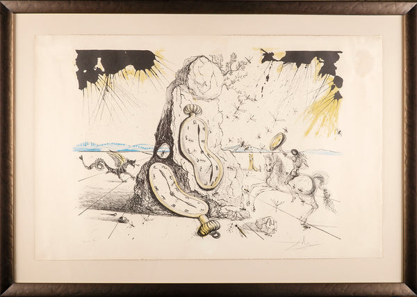 Cosmic Rays Resuscitating Soft Watches Color Lithograph, Surrealist Contemporary Art