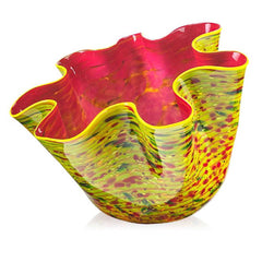 Signed Workshop 2014 Large Yellow & Green Zinnia Macchia with Pink Interior Handblown Glass Contemporary Art Sculpture