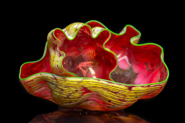 Moroccan Macchia Pair Original Handblown Glass Signed Contemporary Art