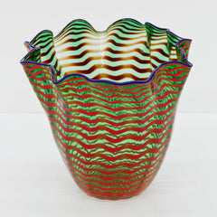 Large Authentic Hand Blown Glass Sculpture Seaform Basket