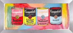 Campbells Soup Quad Warhol Famous Assistant, Pop Art Oil Painting
