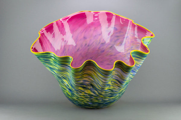 Rambler Rose Macchia with Maize Lip Original Handblown Glass Signed Contemporary Art