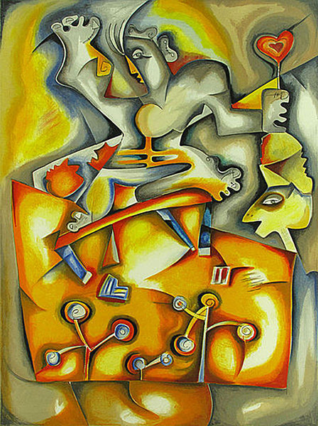 Alexandra Nechita Faces of Happiness Lithograph on Paper Signed Contemporary Art Cubism
