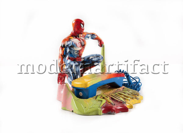 Spiderman Marvel Phone Hand Painted Sculpture Pop Art Signed COA
