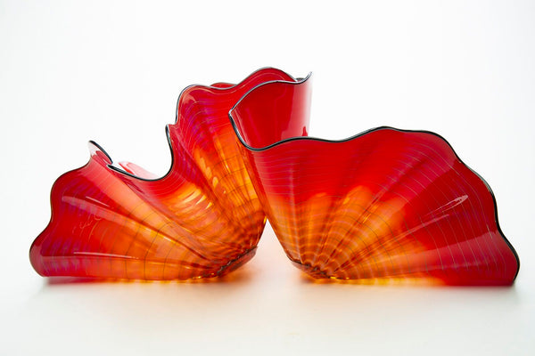Dale Chihuly Red Amber Persian Pair Original Contemporary Handblown Glass Art