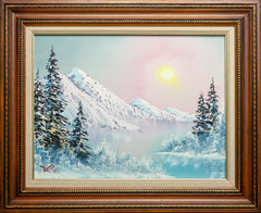 Signed Original Oil on Canvas Painting Mountain Scene Contemporary Art