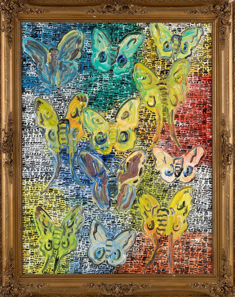 Original Polyphemus Butterfly Painting Contemporary Art