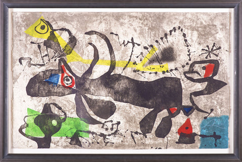 Joan Miro Els Gossos IV Etching in Color, aquatint and carborundum Painting Mint