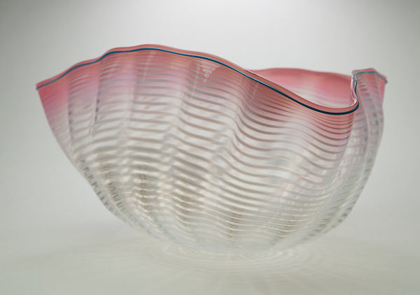 Original Large Soft Pink and and White Seaform with Plumbago Blue Lip Wrap Contemporary Glass Art