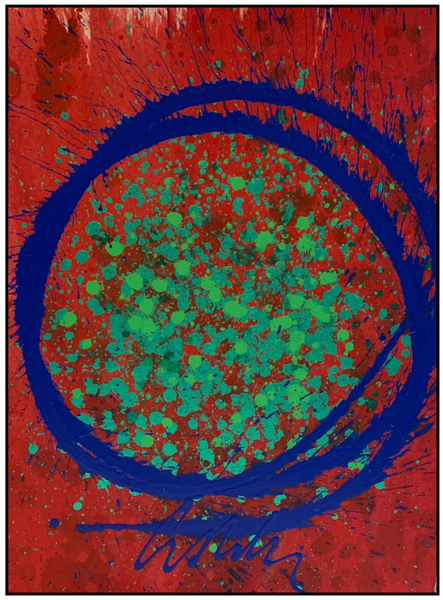 Cobalt Blue, Red, and Green Circle Drawing Original Acrylic Painting Signed Contemporary Art