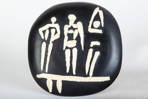 Original Trois Personnages Sur Tremplin (Three People on a Trampoline) AR 374 Signed Ceramic Contemporary Art Plate