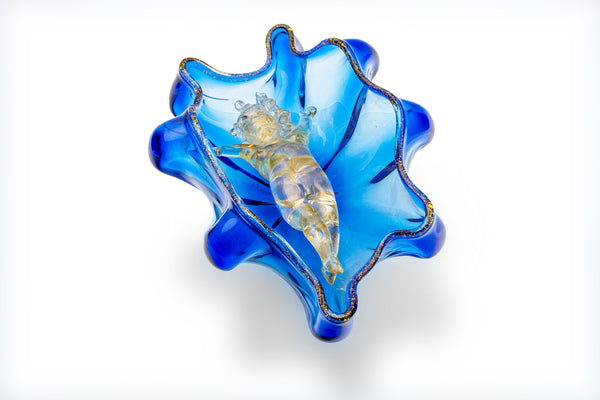 Dale Chihuly Original One of a Kind Golden Putti in Azure Blue Seaform Glass