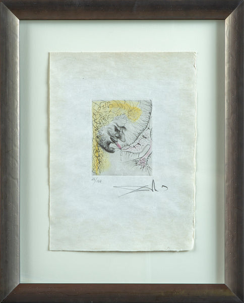 Man Kissing Shoe, Contemporary Art Surrealist Hand Colored Engraving