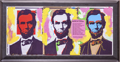 Original Oil Painting Abraham Abe Lincoln, Large Three Faces