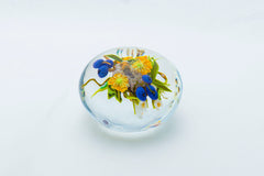 Original Glass Paperweight with Yellow Flowers, Blueberries, and Honeybee