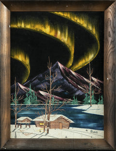 Original Alaskan Cabin Mountain Scene w/Northern Lights Oil on Velvet