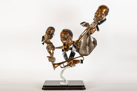 "Dizzy Louis Handy Bronze 30"" Signed Sculpture Music Blues Jazz 26k retail"