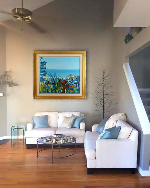 Original Coastal Vista Oil Painting Signed Contemporary Art