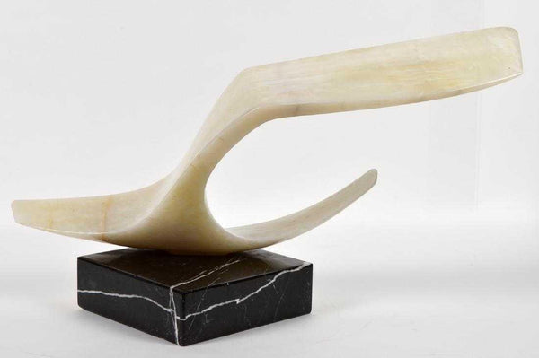 White Onyx Sculpture Contemporary Art Signed Large
