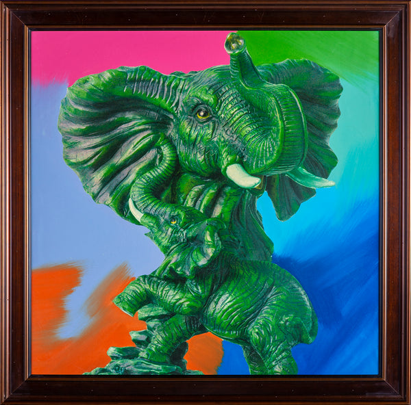 Steve Kaufman Huge Elephant Pop Art Painting Ganesha Original Oil Painting