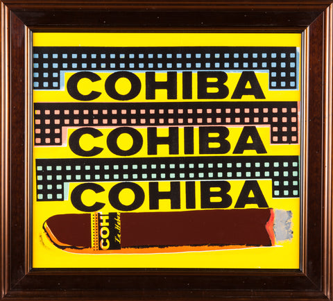 Steve Kaufman Cohiba Cigar Original Oil Painting Screen Print Man Cave