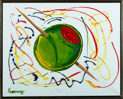 Large Olive Original Acrylic Painting on Canvas, Bar Pop Art