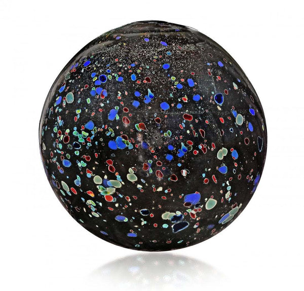 Dale Chihuly Black Float with Multi-colored specks and gold leaf Original Handblown Glass Contemporary Art
