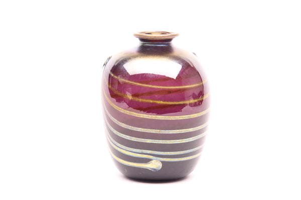 Dale Chihuly Signed Original 1971 Violet Vase with Gold Detailing Handblown Glass