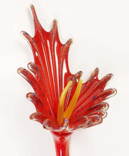 Dale Chihuly Large Araby Red Ikebana with Single Flower Original Blown Glass Art