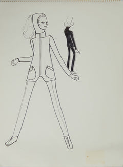 Karl Lagerfeld Original Fashion Sketch Ink Drawing with Marker Contemporary Art