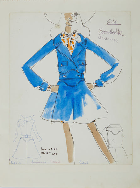 Karl Lagerfeld Original Fashion Sketch Ink Drawing with Watercolor 611 Contemporary Art