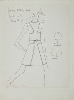 Karl Lagerfeld Original Fashion Sketch Ink Drawing 621 Bis Contemporary Art