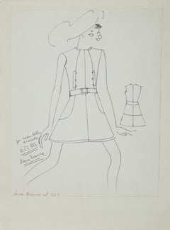 Karl Lagerfeld Original Fashion Sketch Ink Drawing 622 Bis Contemporary Art