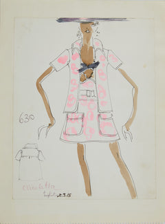 Karl Lagerfeld Original Fashion Sketch Ink Drawing with Watercolor 630